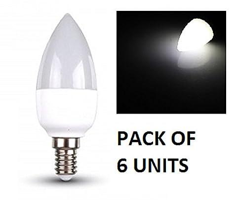 V-TAC LED Bougie Ampoules–Lot de 6unités–Blanc Froid 6000K–E14à petite vis type de base ses Fixations/470lumens de sortie–Puissance 6W/Faisceau 200°/vie 20000heures/non dimmable/SKU: 4241