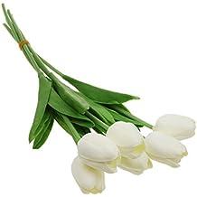 Manojo Mini Ramo de Flores Tulipán Tacto Inicio Floral Artificial PU Decoración Hogar Oficina - Blanco