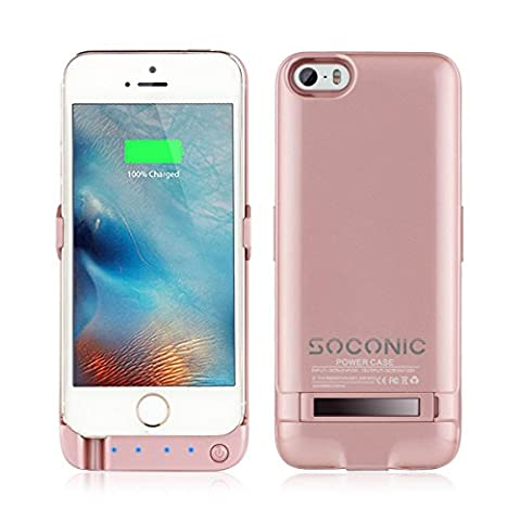 Soconic Newest Slim 4200Mah External Detachable Power Bank Charger Pack Backup Battery Case for iPhone 5 5S SE Rechargeable extended protective Battery Case With Click Stand And LED indicators [With A Free Screen Protector] -Rose