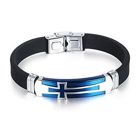 Fate Love Bijoux pour Homme Sport en Silicone Bracelet Croix Chrétienne, bleu/noir