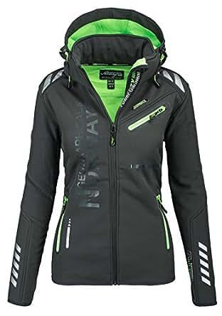 Geographical Norway Damen Softshell Funktions Outdoor Regen Jacke Sport [GeNo-24-Dunkelgrau-Gr.S]