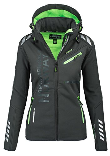 Geographical Norway Damen Softshell Funktions Outdoor Regen Jacke Sport [GeNo-24-Dunkelgrau-Gr.L]