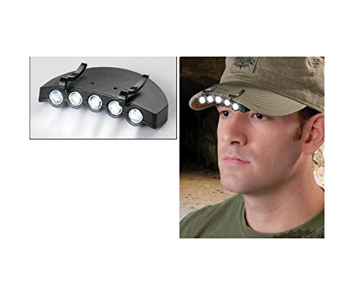 Outdoor 5LED Bright Weiß Head Cap Lampe Taschenlampe für Camping Joggen Wandern Radfahren Angeln Jagd Festivals Notfall (Clips Fluke)