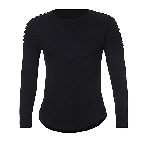 Yvelands Herren Tops Langarm T-Shirt Casual Solid Color -