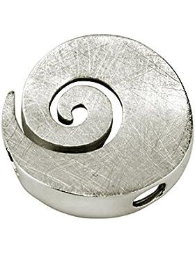 SILBERMOOS Damen Anhänger große Spirale Kreis rund offen gebürstet 925 Sterling Silber / Kette optional