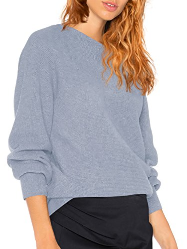 HENCY Femme Sweater T-Shirt Col Bateau Sexy Shirt Pull Manche Longue Chandail Top Tricot Casual Automne Hiver 2017 Gris