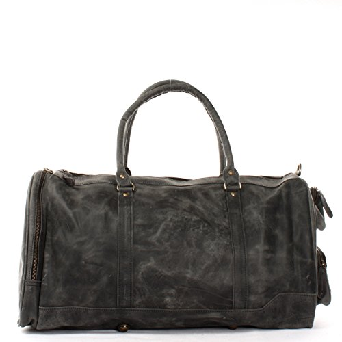 LECONI XL Reisetasche Sporttasche echtes Rindsleder Damen Herren Weekender Ledertasche 55x30x27cm LE2017 grau