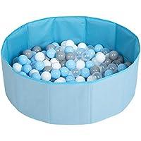 Selonis Piscina Plegable con Bolas Coloridas De 300 Bolas NZ-78-BLUE, Azul:Gris/Blanco/Transparente/Azul Claro