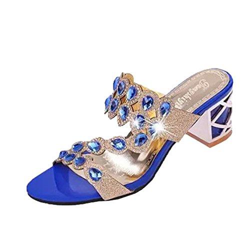 UFACE Strass Floß Air mit Frauen Sandalen Hausschuhe Sommer Mode MäDchen GroßE High Heel Sandaletten Damen Strand Sandale (37, Stil 5-Blau)