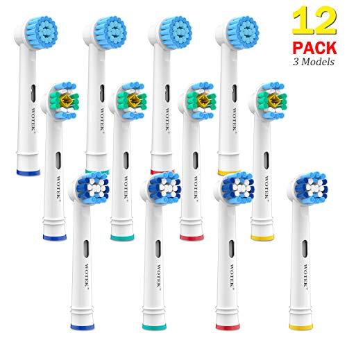 WOTEK Testine Ricambio per Spazzolino Elettrico Oral B - Sensitive Clean x 4, Precision Clean x 4, 3D White x 2, Testine Oral b Compatibili (12 pezzi)