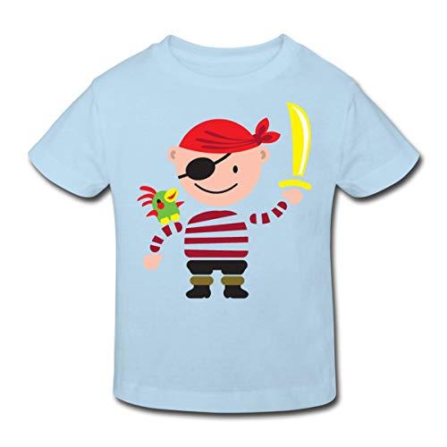 Spreadshirt Pirat mit Papagei Kinder Bio-T-Shirt, 98/104 (3-4 Jahre), Hellblau -