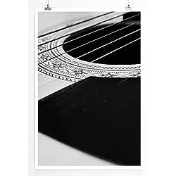 Best for Home Artprints - Photo Artistique - Cordes (Pages) pour Guitare Folk Noir et Blanc - Impression Photographique de qualité supérieure, Poster 60 x 90 cm - enroulé, Poster 90x60cm