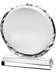 """Placa de trofeo con cristal circular y bordes facetados, 9"""""""