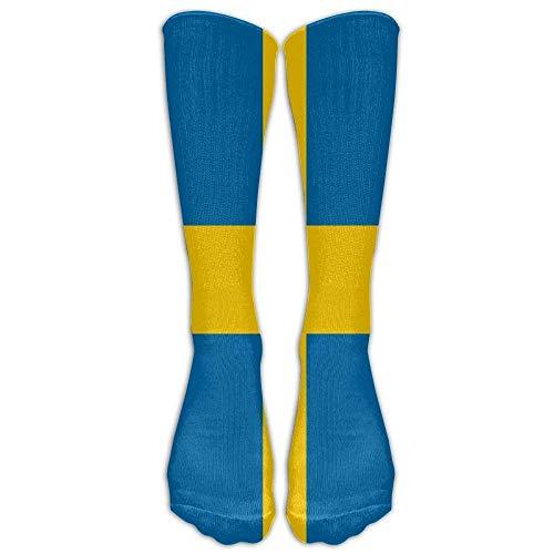 dfegyfr Swedish Flag Sock Classic Fancy Multi Colorful Crew Knee High Socks Running Soccer Large (Shoe Size 38-44) for Men and Women (Long 50cm