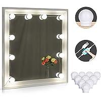 LED Spiegelleuchte, Winzwon Make-up Licht Spiegellampe Schminktisch Spiegel Beleuchtung 10 LED-Licht Schminktisch Spiegel Lichter Set für Kosmetikspiegel mit Dimmfunktion, 7000 Kelvin