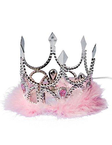 Folat LP Krönchen Krone Prinzessin Tiara Silber-rosa Einheitsgröße