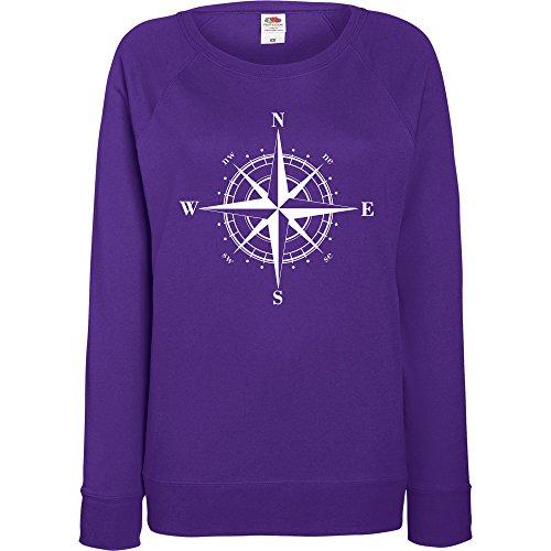 TRVPPY - Sweat Pull, modèle Boussole Compass - Femme, différentes tailles et couleurs Violet