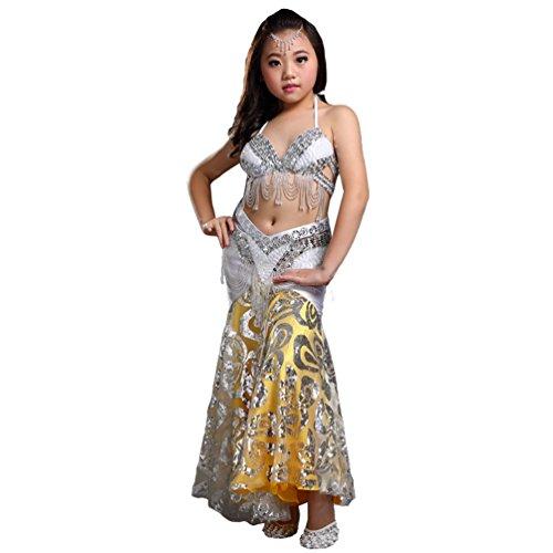 (Xinwcang Mädchens Kleid Bauchtanz Outfit Dance Kleidung Top + Rock Halloween Karneval Kostüme Silber (3PC) One Size)