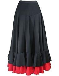 Jupe enfant de flamenco Noir/rouge 2 volants