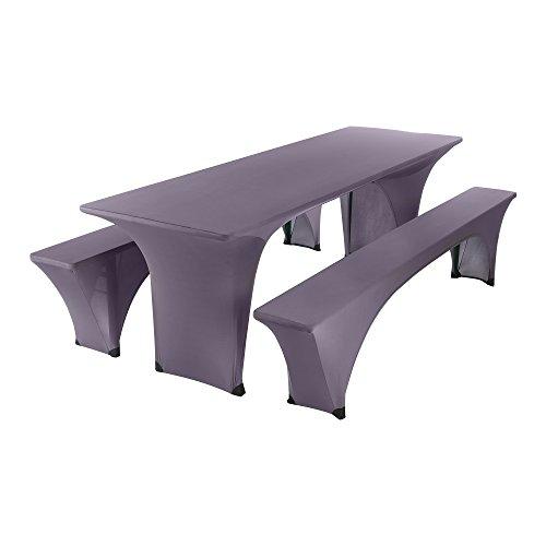 SCHEFFLER-HOME Max Bierzelt-Garnitur 3tlg. Set für Tisch und Bänke Stretch-Hussen 70x220 cm,...