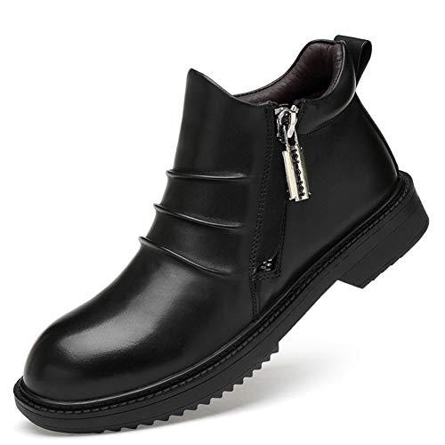 ailishabroy Knöchelreißverschluss für Stiefel Herren Klassische Schwarze Lederhalbschuhe Hohe Schuhe für formelle Gelegenheitsarbeit (Schwarz-warm 45EU) Wellington Magnum