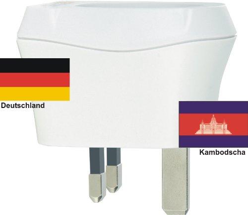 Design Reisestecker Adapter Kambodscha auf Deutschland, Schukostecker 230V, Umwandlungsstecker KH-D