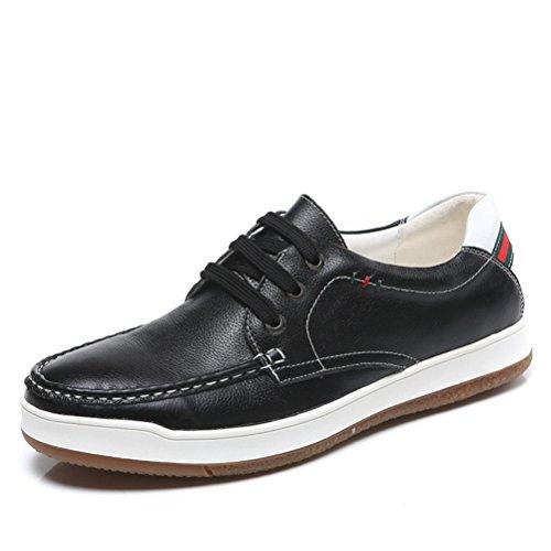Chukka Moderne chaussure en cuir véritable souple fashion soulier de grand taille jeune adulte respirant plateau clair toute saisons homme Noir