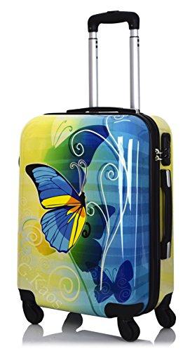 G.Kaos - Trolley Valigia Da Cabina 4 Ruote Rigida In ABS Policarbonato - Pellicola Protettiva da Rimuovere - Per Voli Come EasyJet & C. - Fantasia Dream Butterfly 55cm