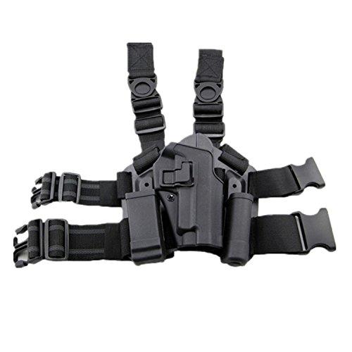 haoYK Einstellbare Tactical Airsoft Pistol Drop Bein Holster Tasche Oberschenkel Rechts Beinholster mit Magazin Taschenlampe Beutel SIG SAUER P226 P228 P229 (Schwarz)
