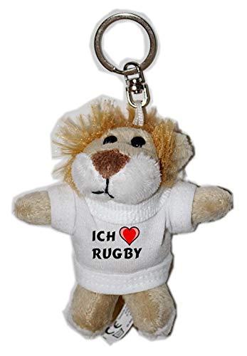 Plüsch Löwe Schlüsselhalter mit einem T-shirt mit Aufschrift mit Ich liebe Rugby (Vorname/Zuname/Spitzname) -