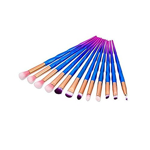 Eye Makeup Brushes Set,MYG 12pcs Make Up Eye Brush Eyeshadow Eyeliner Blending Crease Kit Unicorn Cosmetic Brush With Pouch + 1Pc Makeup Silicone Puff (Gift)