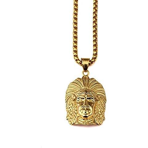 nyuk Oro 18K Catena hip hop collana capo indiano - 14k Oro Jade Stud