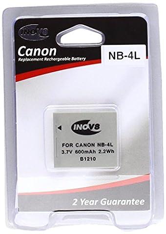 Inov8 Replacement Lithium Digital Camera Battery R-C-B Canon NB 4L, NB-4L, NB4L, 800mAh 3.7V (Pack of