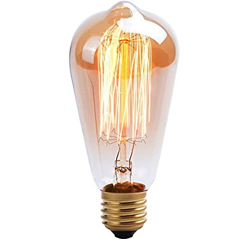 Uping Dimmable Vintage Light Bulb Retro | Old Fashioned Edison Style 60w | Squirrel Cage Filament Glass Antique Lamp | E27 Screw | Amber