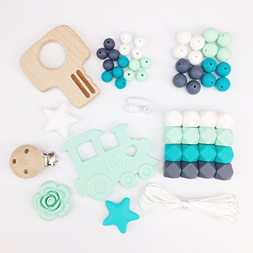 Mamimami Home DIY Nursing Necklace Teething Beads Silicone Bracelet Baby Teether Pacifier Clips Nurse Charms 41gh8L1lI9L