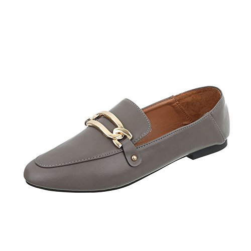 Ital-Design Chaussures Femme Mocassins Bloc Slippers Gris