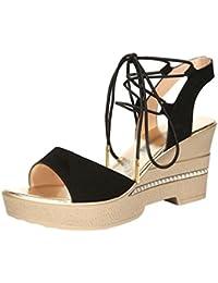Anguang Donna Luccichio Sandali Zipper Elegante Cavo Piatto Sandali Antiscivolo Nero#2 36 Lwciij