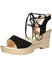 Anguang Donna Luccichio Sandali Zipper Elegante Cavo Piatto Sandali Antiscivolo Nero#2 36