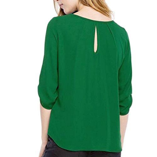 Casuale Allentate Camicie Manadlian Superiori Parti Donna Camicetta Chiffona Verdi Lunghe Maniche rYqqgTzd