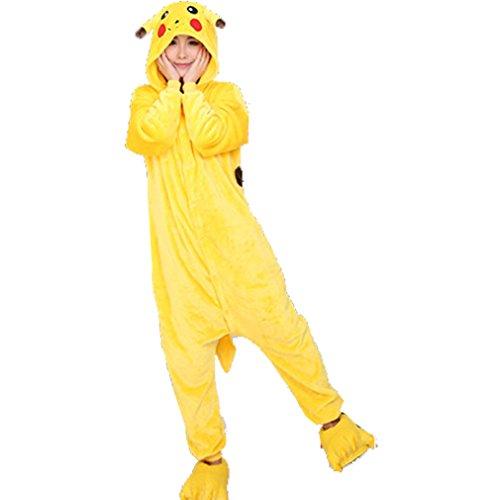 ter Warm Flanell Unisex Einteiler/Pyjama für Erwachsene Pikachu Pyjama (Pikachu-strampler)