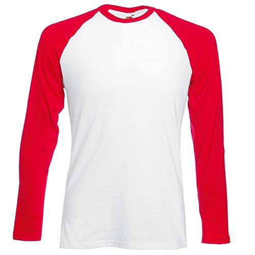 Fruit of the Loom Herren Baseball-T-Shirt Classic Long Sleeve Gr. 56, weiß/rot -