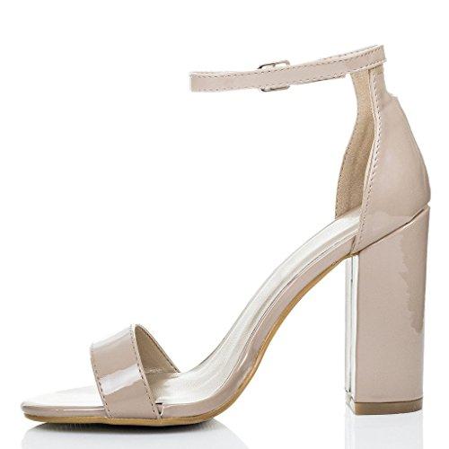 Peep-Toe Blockabsatz Sandalen Schuhe Pumps Synthetik Lack Gr 40 OaJmefLhQI