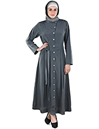 Momin Libas Grey Polyester Abaya without Hijab