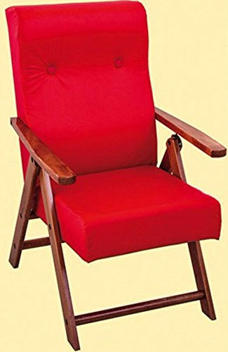 Poltrona molisana ecopelle reclinabile relax 4 posizioni sedia divano sofà cuscino imbottito (red)