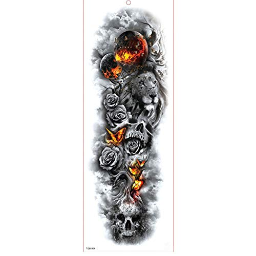 Der Mädchen Mit Kostüm Tattoo Drachen - yyyDL Temporäre Tattoo-Aufkleber Große Arm Ärmel Tattoo Wasserdicht Temporäre Tätowierung Aufkleber Rose Drache Volle Blume Tattoo Body Art Tattoo Mädchen 17 * 48 cm 2 stücke
