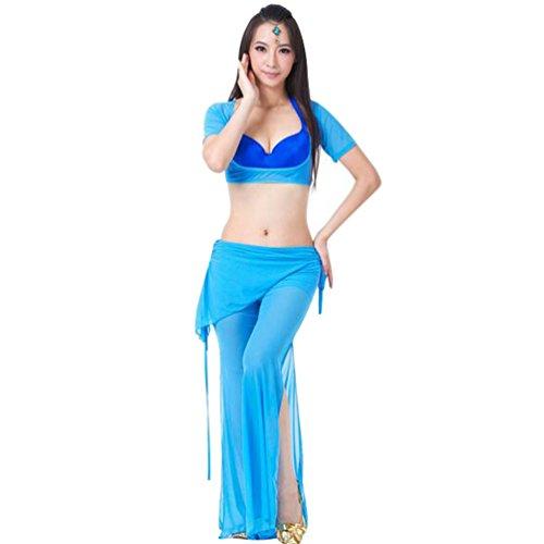 ZhiYuanan Damen 2Pcs Bauchtanz Set Belly Dance Kurzarm-Tops -
