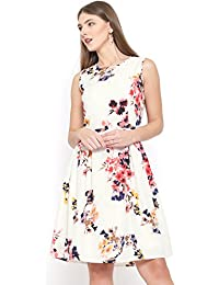 RARE Women Off-White Floral Print Fit & Flare Dress (EP1392-S)