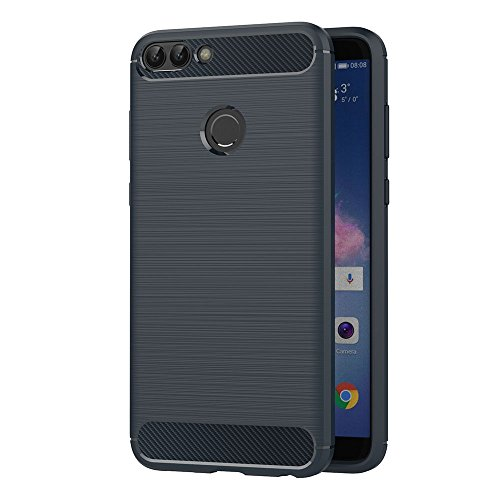 AICEK Huawei P Smart Hülle, Blau Silikon Handyhülle für Huawei P Smart Schutzhülle Karbon Optik Soft Case (5,65 Zoll)
