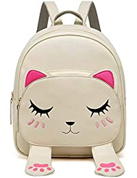 Sleema Fashion Cute Small Cat Style Backpack for Girls (Cute Cream Backpack)