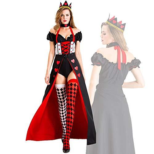 SJWSJW Halloween Kostüm Erwachsene Herz Königin Prinzessin Kleid Gericht Kleid Spiel Einheitliche Bühne Kostüm S Rot und Schwarz (Rote Herzen Prinzessin Kostüm)